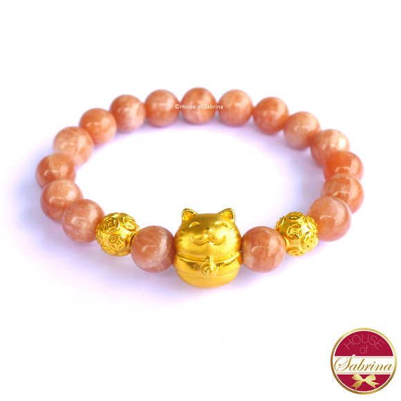 24K Gold Fortune Cat with Chinese Coins in Sunstone Gemstone Bracelet