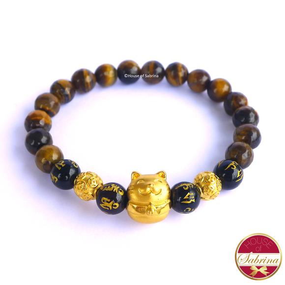 24K Gold Fortune Cat with Chinese Coins on Tiger Eye and Black Onyx Mantra Gemstone Bracelet