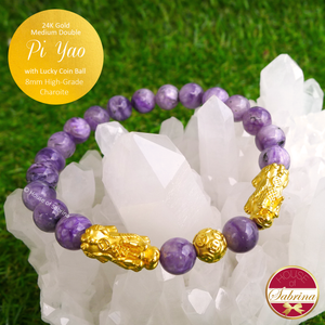 24K Gold Medium Double Pi Yao with Lucky Coin on 8mm High Grade Charoite Gemstone Bracelet