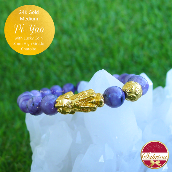24K Gold Medium Pi Yao with Lucky Coin on High Grade Charoite