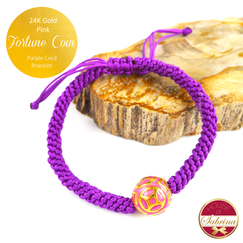 24K Gold Pink Fortune Coin on Purple Cord Bracelet