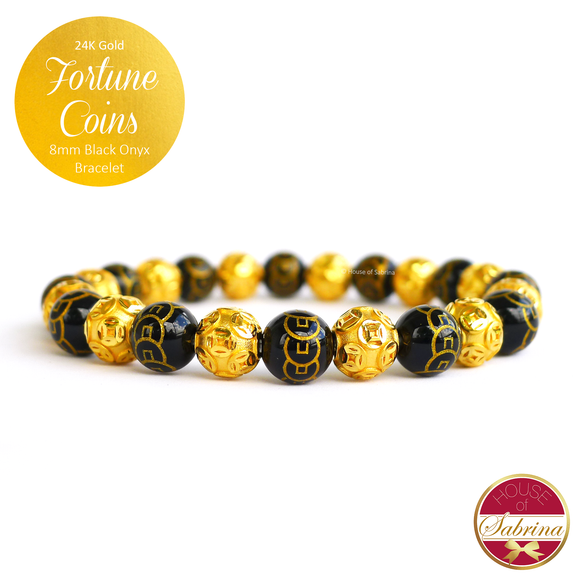 24K Gold Fortune Coins on Black Onyx Lucky Charm Bracelet