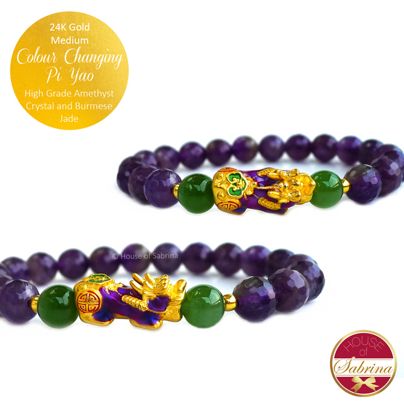 24K Gold Medium Purple - Blue Green Colour Changing Pi Yao on High Grade Faceted Amethyst Crystal and Darke Burmese Jade