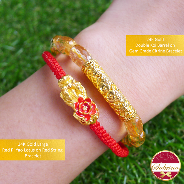 24K Gold Red Pi Yao Lotus (Large) on Lucky Red String Bracelet