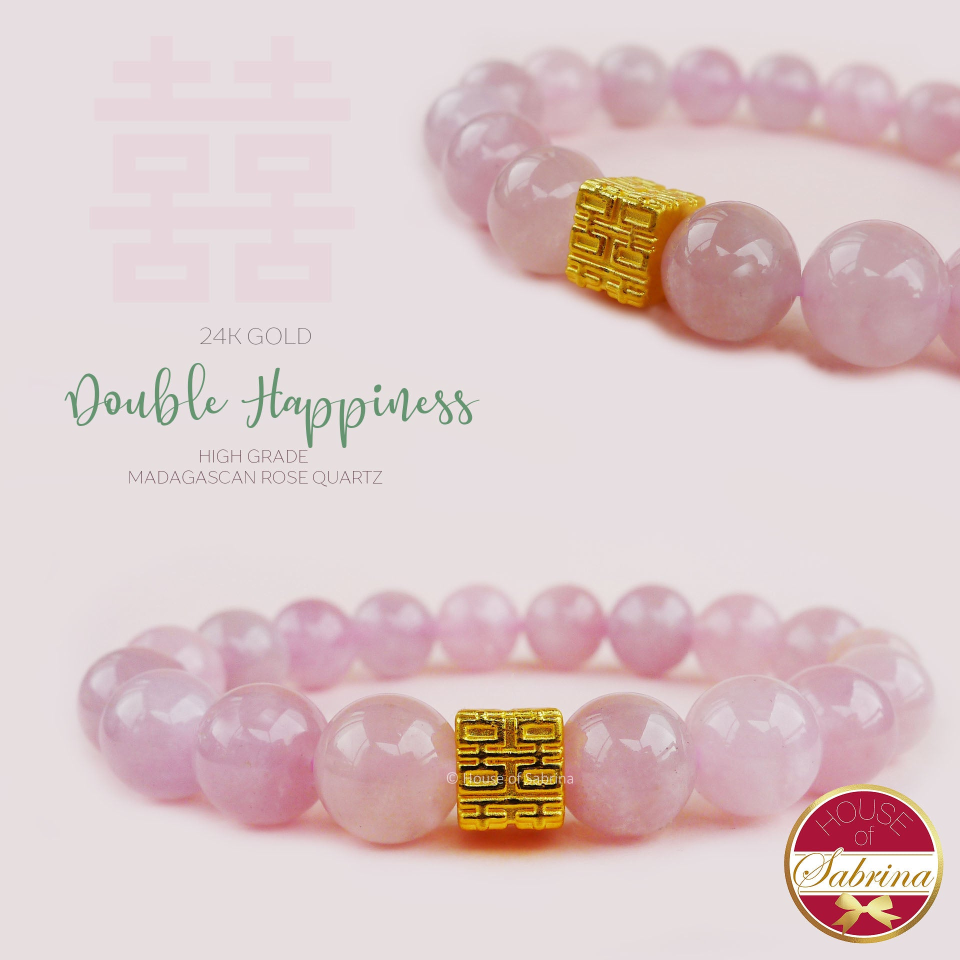 24K GOLD DOUBLE HAPPINESS on HIGH GRADE MADAGASCAN ROSE QUARTZ LUCKY CHARM BRACELET