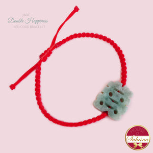 JADE DOUBLE HAPPINESS RED CORD BRACELET
