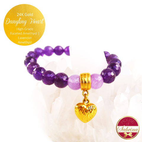 24K Gold Dangling Heart on High Grade Amethyst Gemstone Bracelet