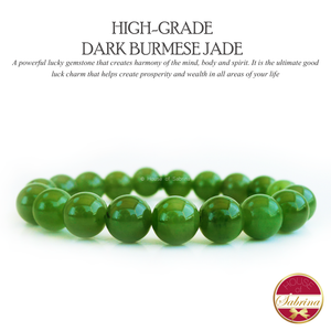 High-Grade Dark Burmese Jade Gemstone Bracelet