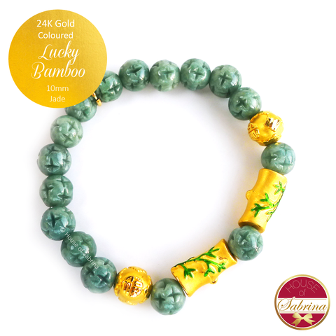 24K Gold Coloured Double Lucky Bamboo with Proseprity Coins on Jade Gemstone Bracelet