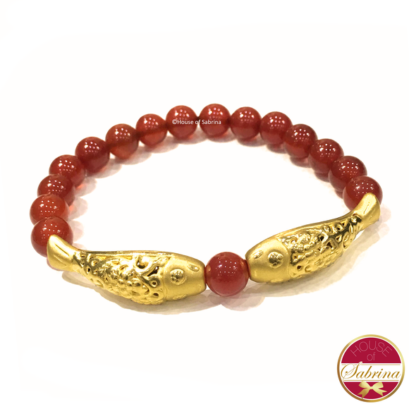 24K Gold Double Koi on Red Carnelian Gemstone Bracelet