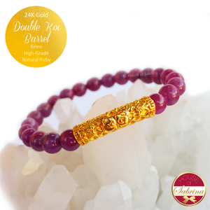 24K Gold Double Koi Barrel on High Grade Natural Ruby Gemstone Bracelet