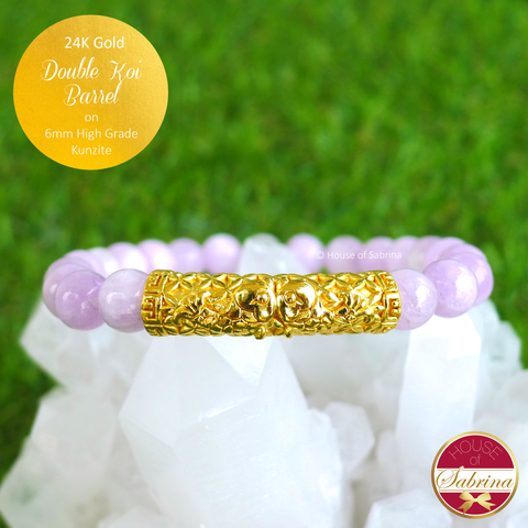 24K Gold Double Koi Barren on 6mm High Grade Kunzite Gemstone Bracelet