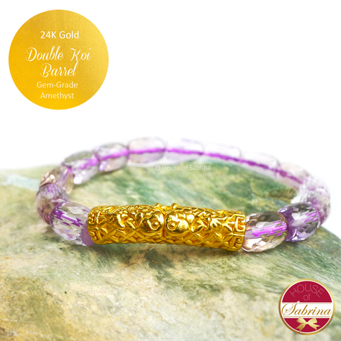 24K Gold Double Koi Barrel on 6mm Gem Grade Amethyst Crystal Bracelet
