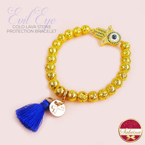 EVIL EYE LAVA STONE PROTECTION BRACELET