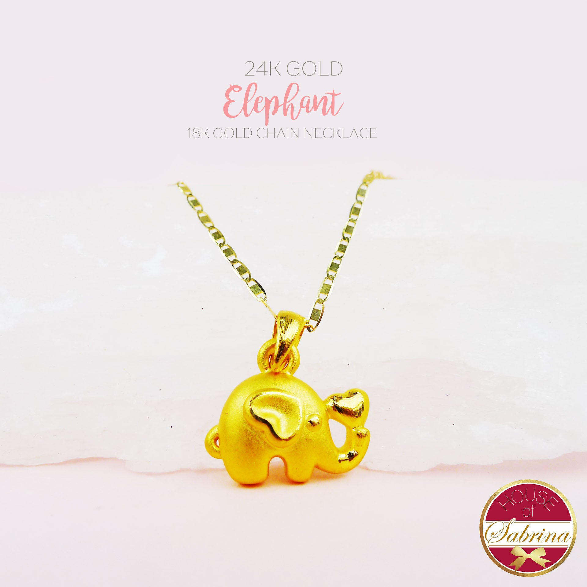 24K GOLD ELEPHANT NECKLACE