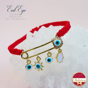 EVIL EYE PIN DESIGN CORD PROTECTION BRACELET