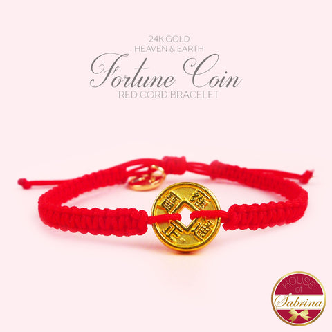 24K GOLD HEAVEN AND EARTH FORTUNE COIN ON RED CORD BRACELET
