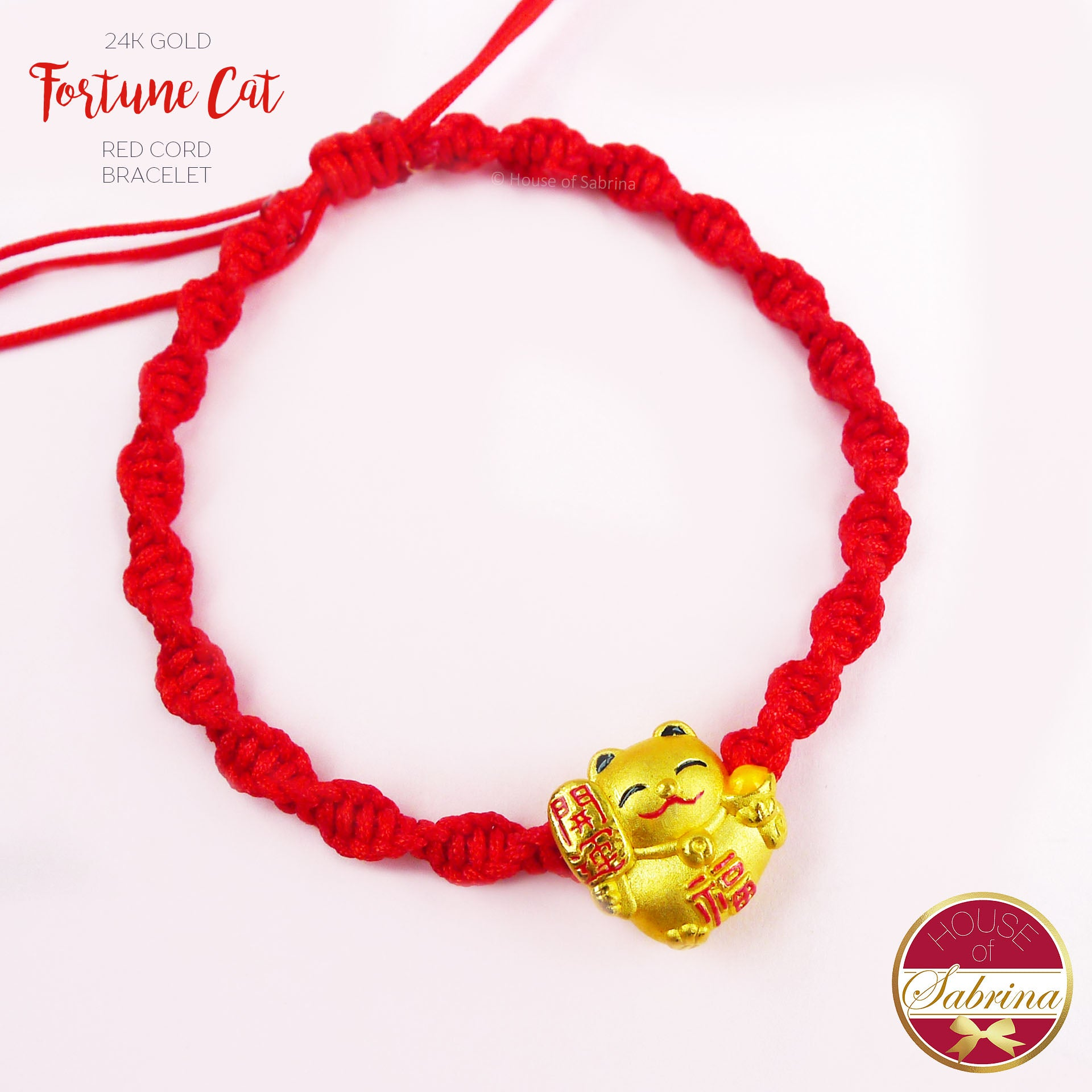 24K GOLD COLOURED FORTUNE CAT ON RED CORD LUCKY CHARM BRACELET