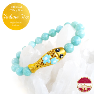 24K Gold Tiffany Blue Fortune Koi on High Grade Larimar Gemstone Bracelet