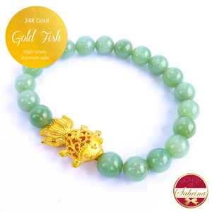 24K Gold Fish  on High Grade Burmese Jade Gemstone Bracelet