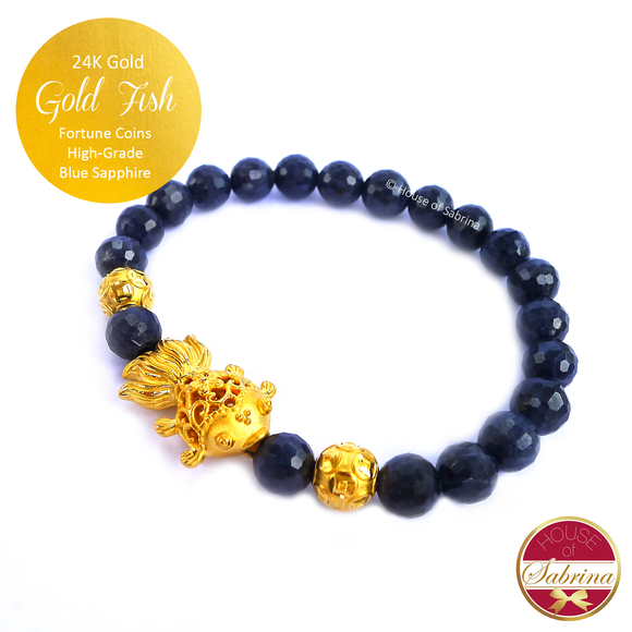 24K Gold Fish with Coins on High Grade Blue Sapphire Gemstone Bracelet