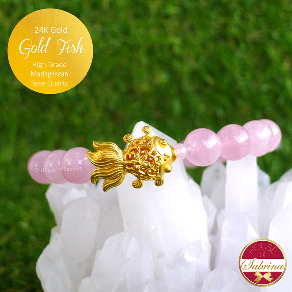 24K Gold Fish on High Grade Madagascan Rose Quartz Gemstone Bracelet