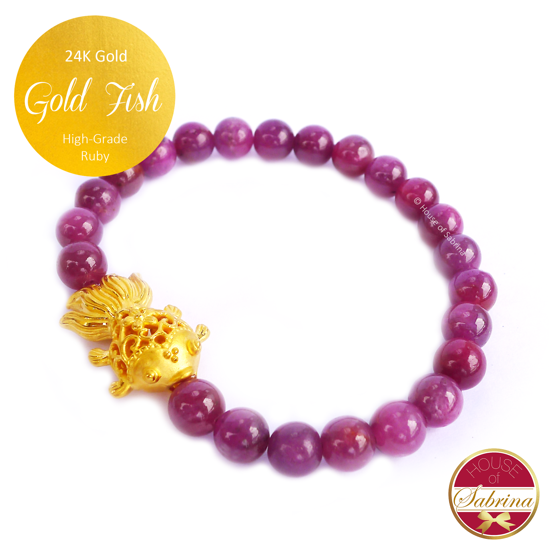 24K Gold Fish on High Grade Ruby Gemstone Bracelet