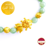 24K Gold Fish with Coins on High Grade Burmese Jade Gemstone Bracelet
