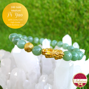 24K Gold Medium Pi Yao with Lucky Coin on High-Grade Burmese Jade Bracelet