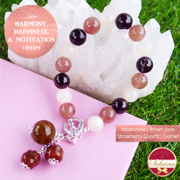 Harmony Happiness and Motivation Gemstone Bracelet