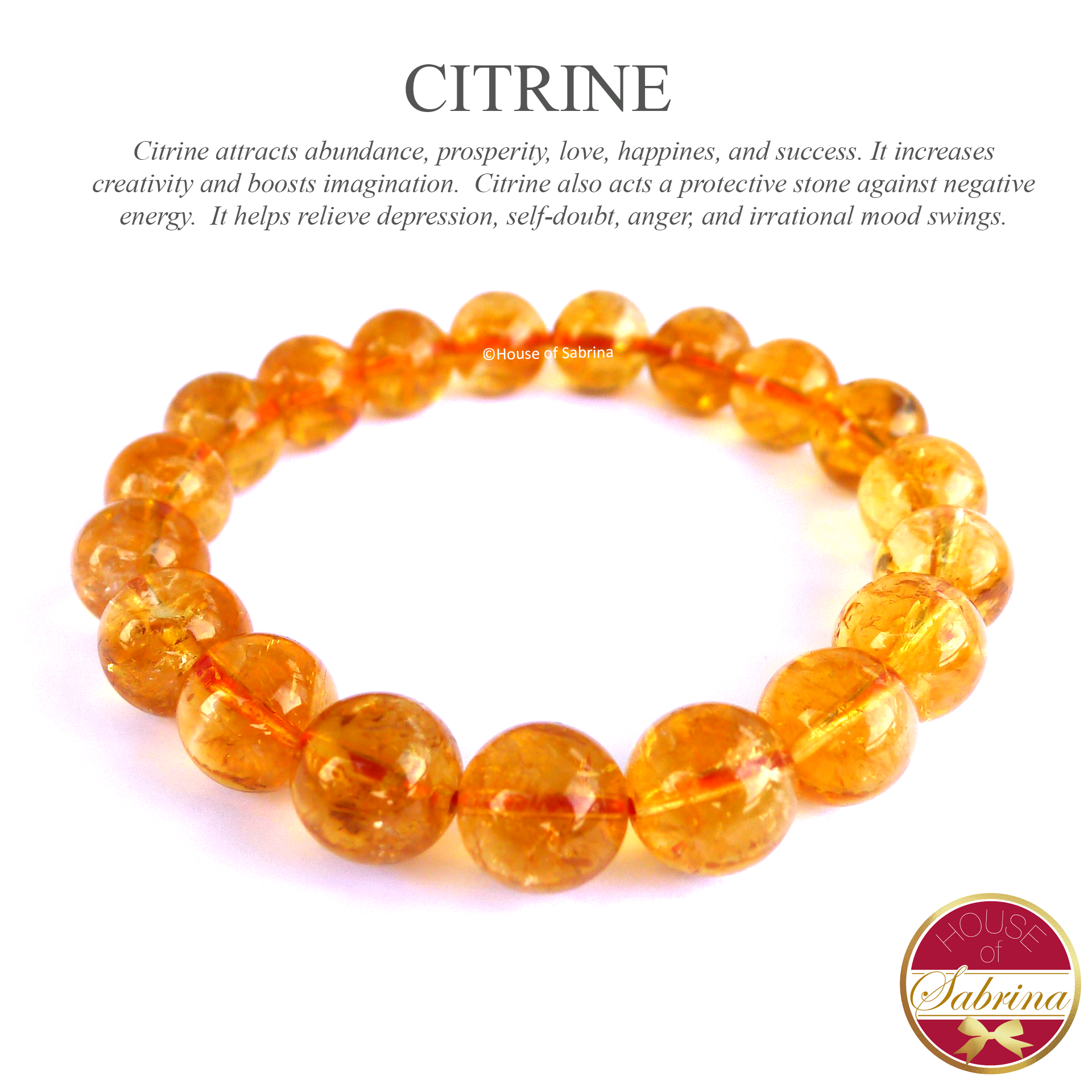 High-Grade Citrine Gemstone Bracelet