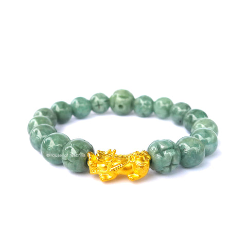 24K Gold Medium Pi Yao Charm in Jade Bracelet