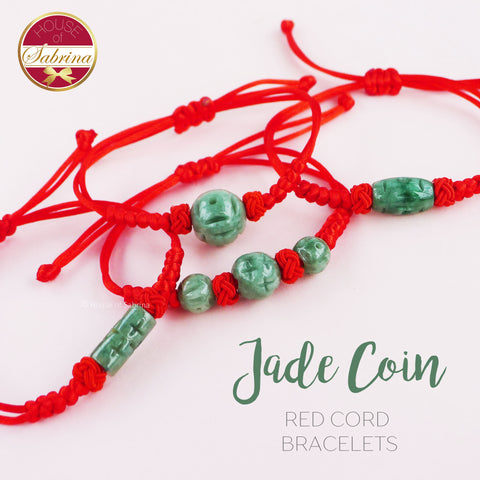JADE COIN RED CORD BRACELETS