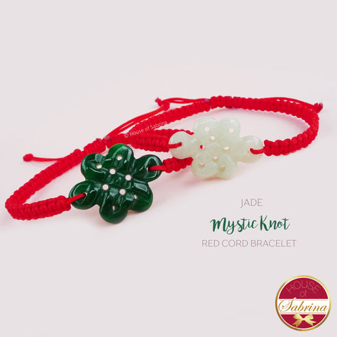 JADE MYSTIC KNOT RED CORD BRACELET