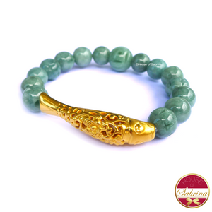 24K Gold Koi in Jade Gemstone Bracelet