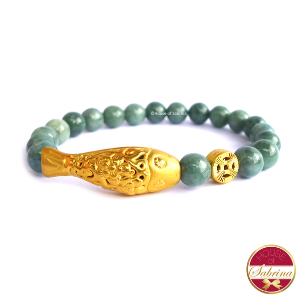 24K Gold Small Koi with Coin on Jade Gemstone Bracelet