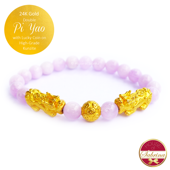 24K Gold Double Pi Yao (M) with Lucky Coin on High Grade Kunzite