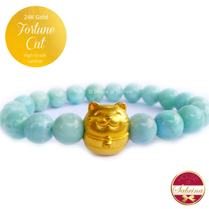 24K Gold Fortune Cat on High Grade Larimar Gemstone Bracelet