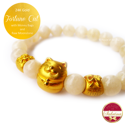 24K Gold Fortune Cat with Money Bags on Raw Moonstone Bracelet