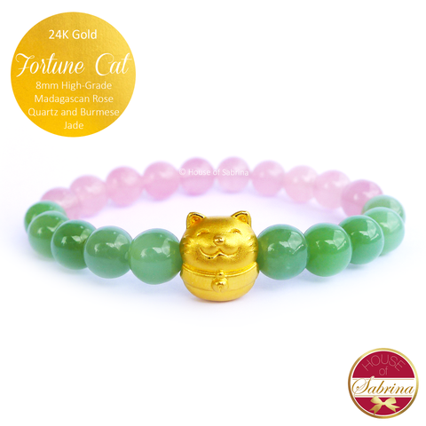 24K Gold Fortune Cat with High Grade Burmese Jade and Madagascan Rose Quartz