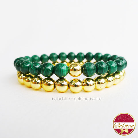MALACHITE  + GOLD HEMATITE DOUBLE STACK