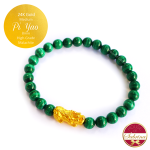 24K Gold Medium Pi Yao on High Grade Malachite Bracelet