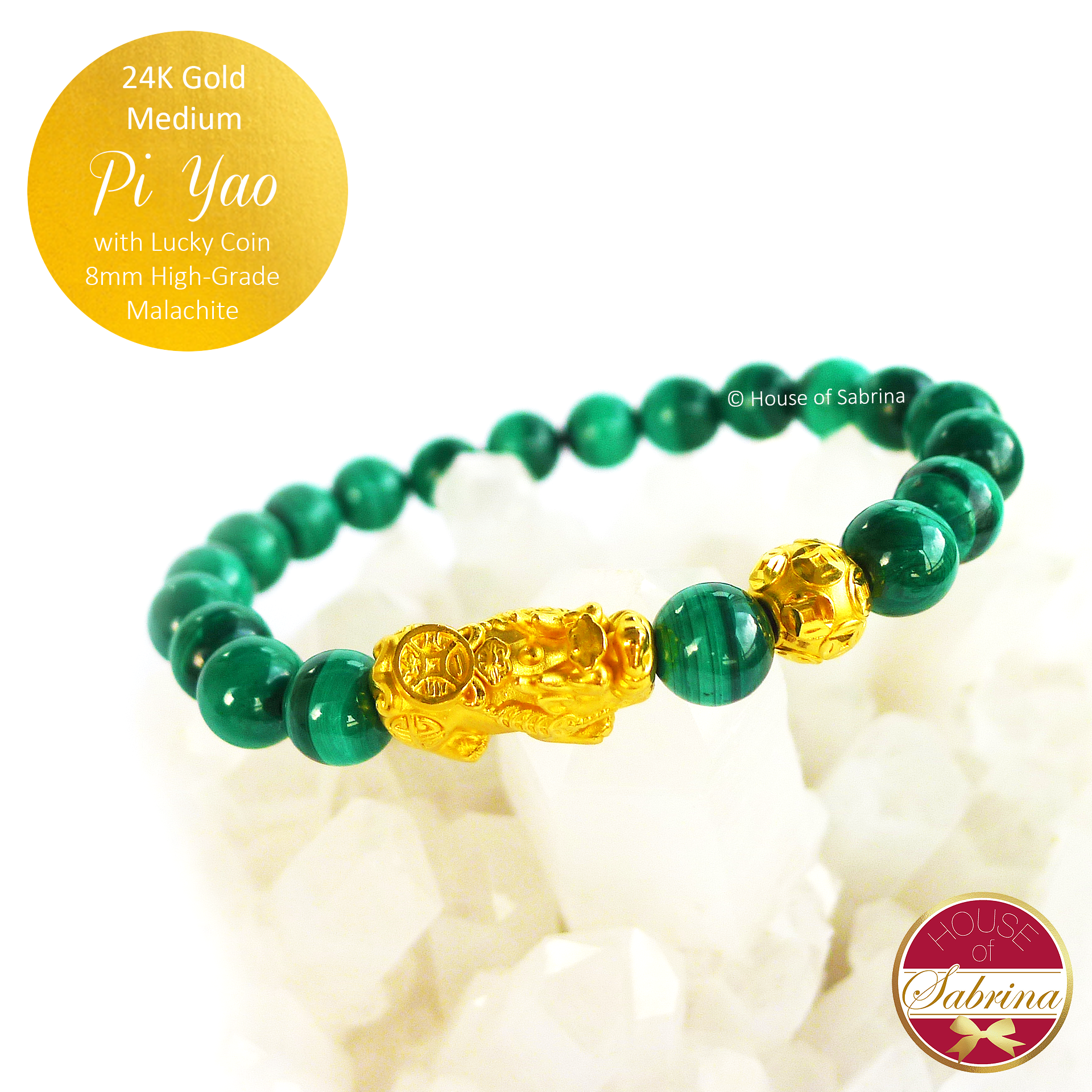 24K Gold Medium Pi Yao with Lucky Coin on High Grade Malachite Gemstone Bracelet