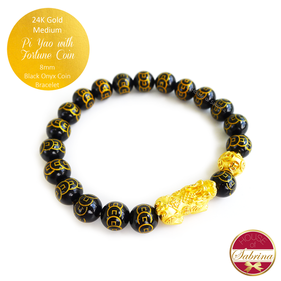 24K Gold Medium Pi Yao with Coin on 8mm Black Onyx Coin Gemstone Bracelet