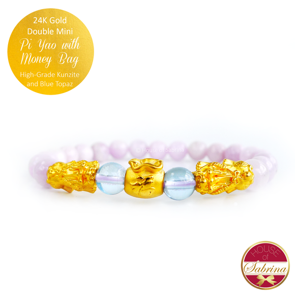 24K Gold Mini Double Pi Yao with Money Bag in Kunzite and Blue Topaz Gemstone Bracelet