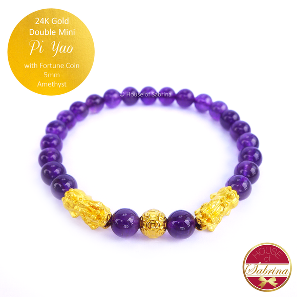 24K Gold Mini Double Pi Yao with Fortune Coin in Amethyst Crystal Bracelet