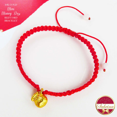 24K GOLD MINI MONEY BAG RED CORD LUCKY CHARM BRACELET