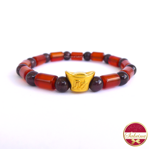 24K Gold  Money Bar in Garnet and Carnelian Crystal Gemstone Lucky Charm Bracelet