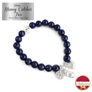 Silver Money Catcher Trio with Mystic Knot on Blue Tiger Eye Gemstone Bracelet
