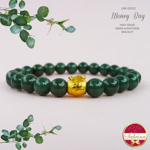 24K GOLD MONEY BAG ON HIGH GRADE AVENTURINE GEMSTONE BRACELET